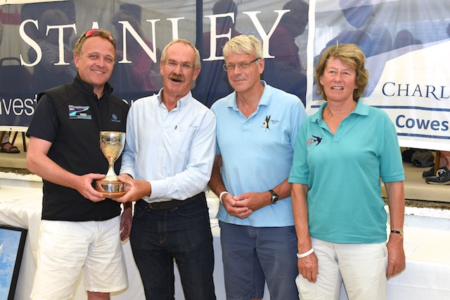 Magnus Wheatley of Charles Stanley Direct presents the Charles Stanley 1792 Cup to overall winners, Swallow sailor Mike Wigmore and crew of Gwaihir. © Rick Tomlinson